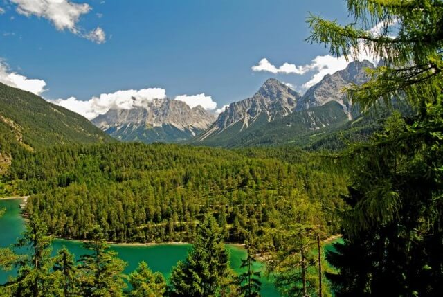 Zugspitze and Lake Eibsee in Bavaria
